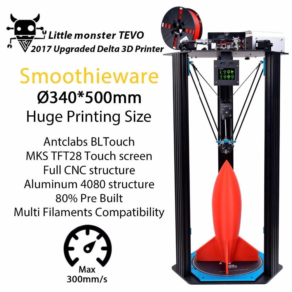 Prix pour 3D Imprimante kit TEVO Delta Petit Monstre Grande Zone D'impression OpenBuilds D'extrusion/Smoothieware/MKS TFT28/Bltouch Kossel imprimante