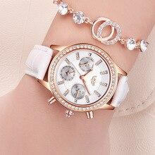 LIGE Top luksusowa marka kobiety zegarki rozrywka moda skórzana sukienka zegarek kwarcowy panie diament kobiet prezent Relogio Feminino + Box