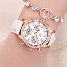LUIK Top Luxe Merk Vrouwen Horloges Leisure fashion Lederen Quartz Dames Diamant Jurk horloge Vrouwelijke gift Relogio Feminino + Box