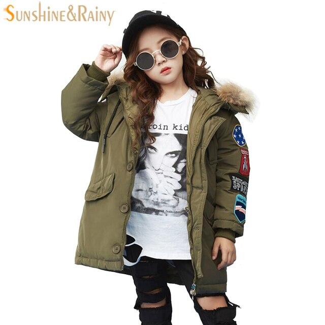Детская Костюмы Обувь для девочек Парка на пуху для пуховик для мальчиков с капюшоном меховой воротник патч Вышивка зимнее пальто Детская верхняя одежда и пальто