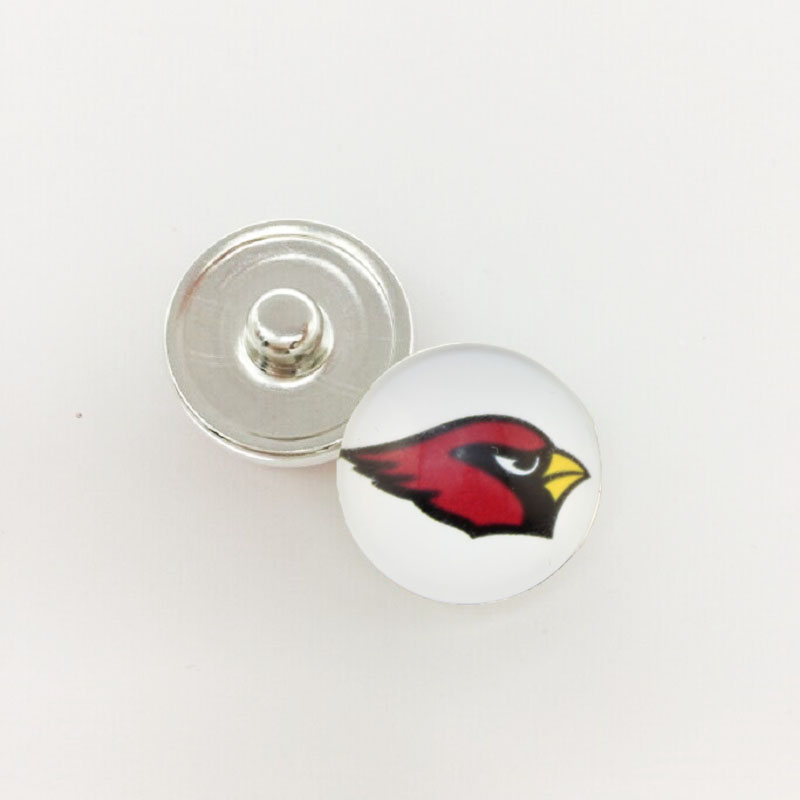 20pcs Arizona Cardinals&Auckland Raiders Team Metal Button Snaps Sports Jewelry Fit For 18MM Button Snap Bracelet Football