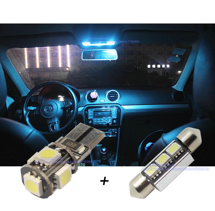 Prix pour 12 pcs xCanbus Voiture LED Intérieur Éclairage Bar Kit Blanc pour VW POLO 6R 2009 + Volkswagen Polo MK5 Auto LED Dome Light Reading ampoules