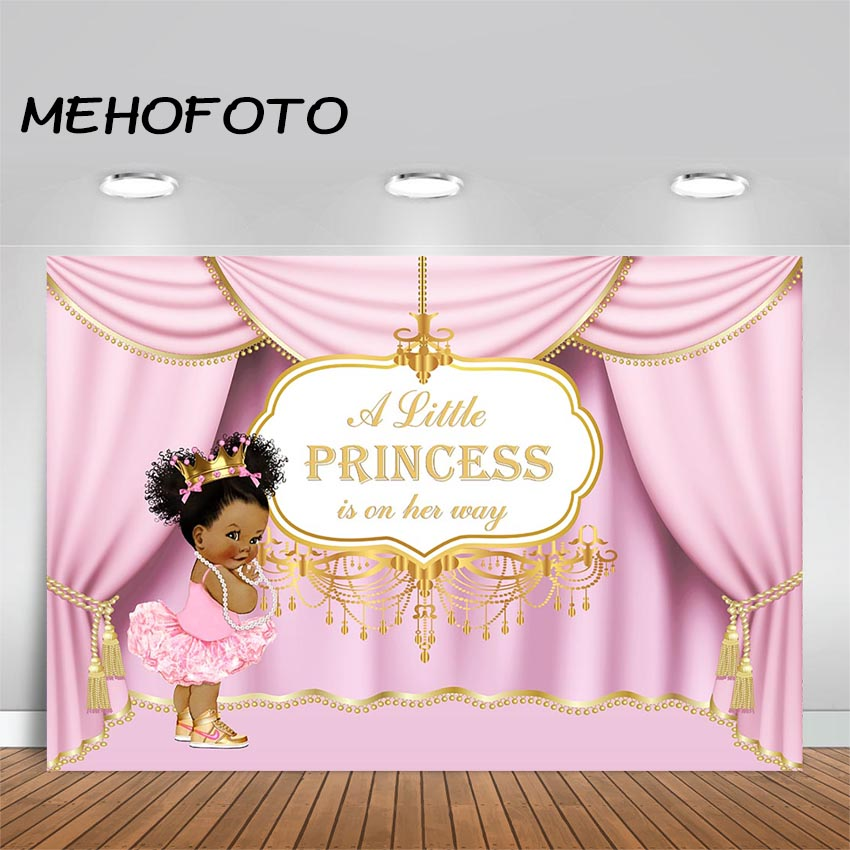 MEHOFOTO Princess Baby Shower Backdrop Baby Girl Pink Party Banner Background Girl's Baby shower Decoration Photo Booth Backdrop