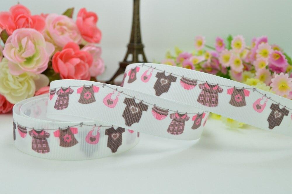 """Duwes 7/"""" 22 мм одежда для маленьких девочек с принтом полушерстяной лентой Хай rbow DIY ручной работы oem 50YD"""