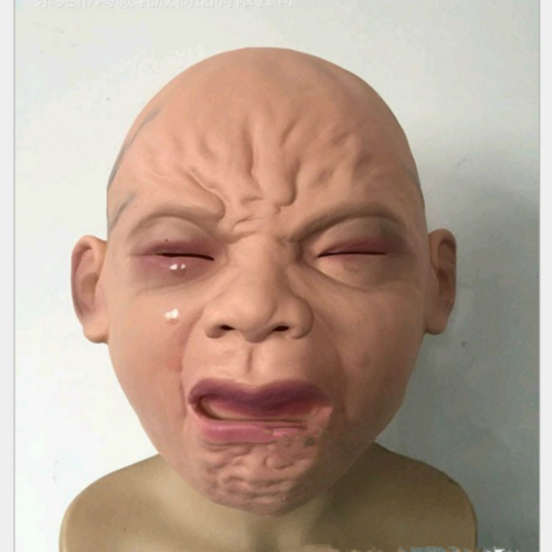 Creepy Vinyl Old Man Mask Scary Face Halloween Costume Wrinkled Skin Bald Head