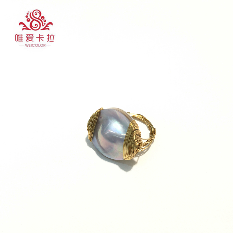 WEICOLOR DIY Design! Handmade Shiny Nice Silver Color,Southsea 22-25mm Mabe Pearl on Gold Mixed. Contact for Size in Diameter.