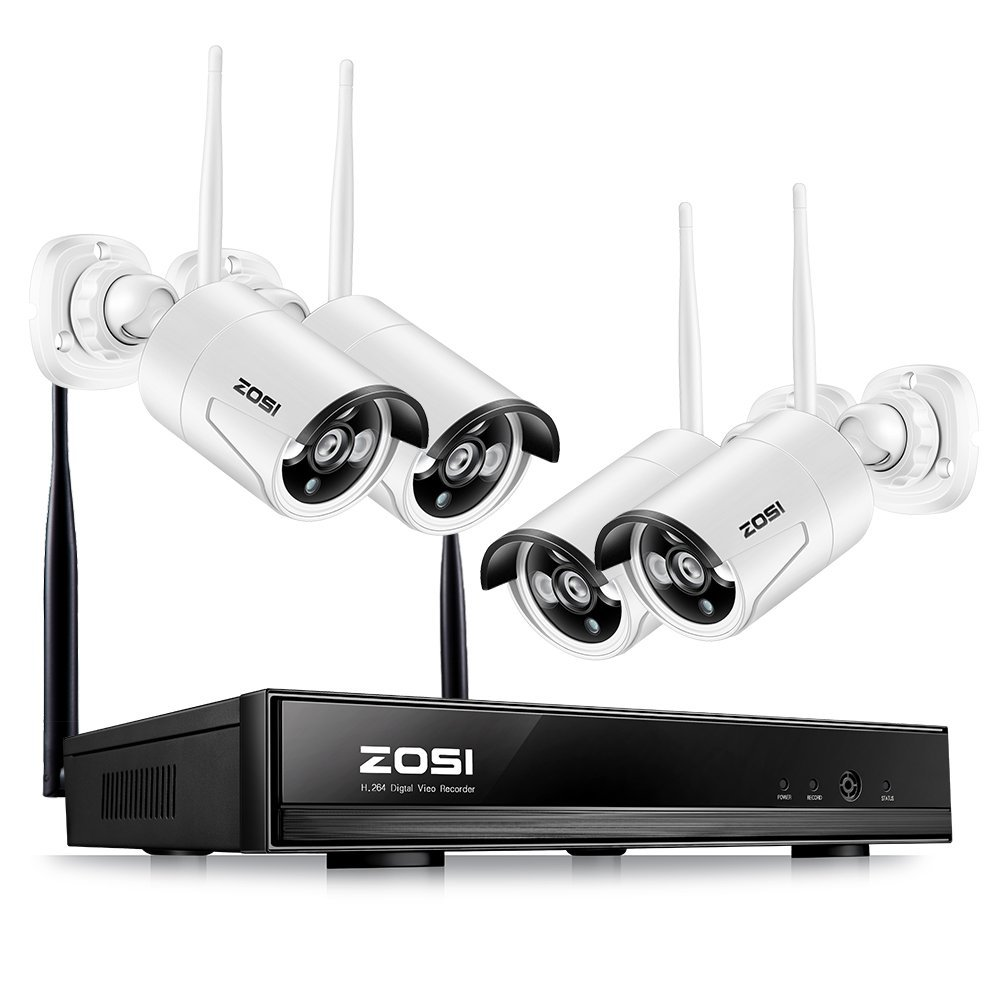 ZOSI 4CH CCTV System 720P HDMI NVR 4PCS 1 0 MP IR Outdoor P2P Wireless IP
