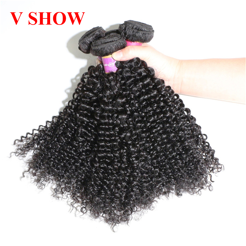 VSHOW HAIR 3 Bundles Brazilian Kinky Curly Hair 100% Human Hair Weave - Menneskehår (sort)