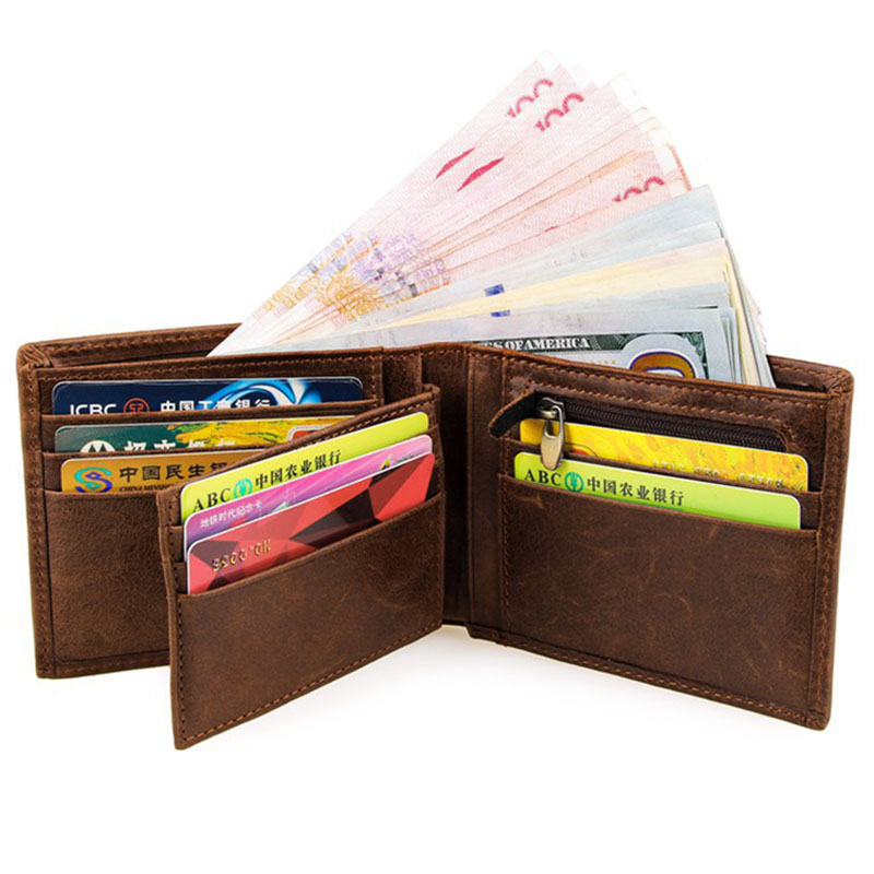 Genuine Leather Wallet Men Short Men Wallets Leather Purse with Coin Pocket Male Wallet Crazy Horse Leather Business Card Holder