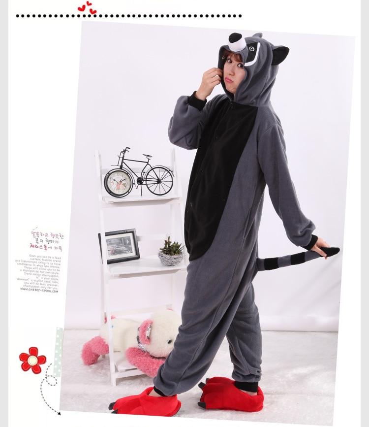 Cosplay Costume Cartoon Adult Kafshëve Raccoon Grey Unisex Onesie - Kostumet - Foto 4