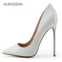 ALMUDENA Sexy White Pointed Toe Shoes Stiletto Heels Shallow Cut Slip on Dress Shose Gladiator Pumps Concise Footwear 12cm 10cm