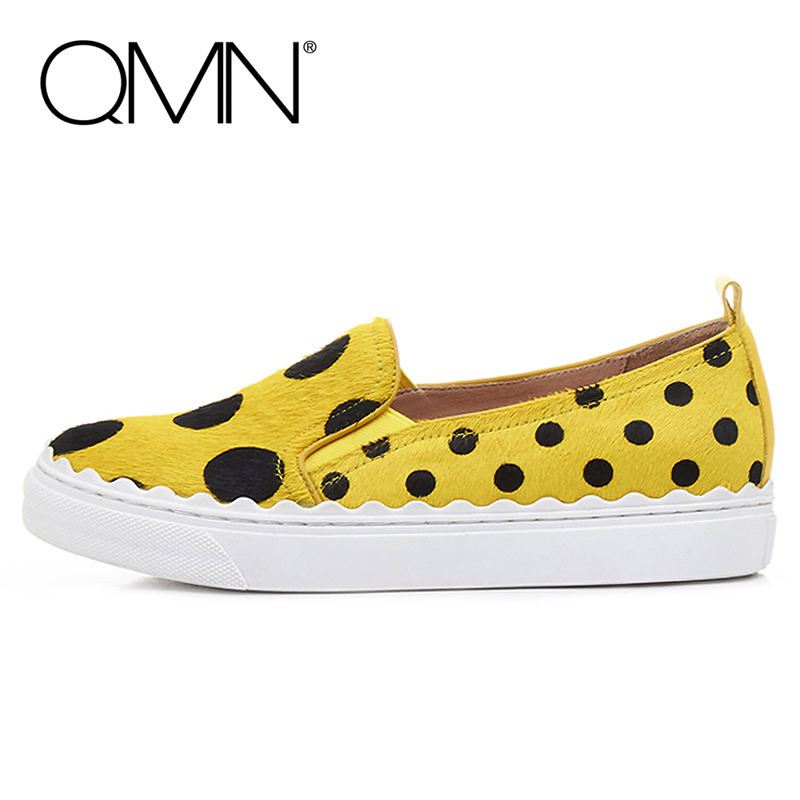 QMN women genuine leather flats Women Polka Dot Horsehair Loafers Slip On Leisure Shoes Woman Leather Flats 34-39  qmn women genuine leather flats women horsehair loafers retro square toe slip on flat platform shoes woman creepers 34 42