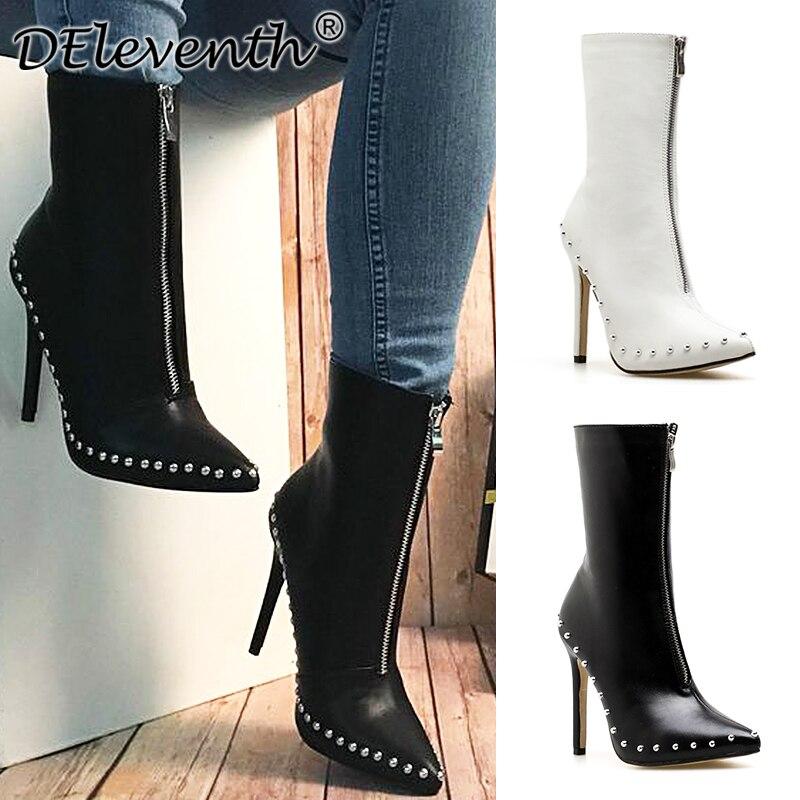 DEleventh/новая зимняя кожаная обувь с заклепками Женская Мода на молнии ботильоны для Женские, дамские ботинки Тонкий Обувь на высоком каблуке Женская обувь