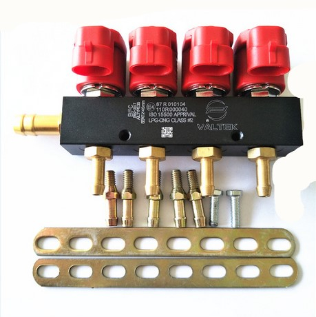 LPG CNG Valtek Injection Rail For 4 Cylinder Multipoint Sequential Injection System 67R 110R ECE Red