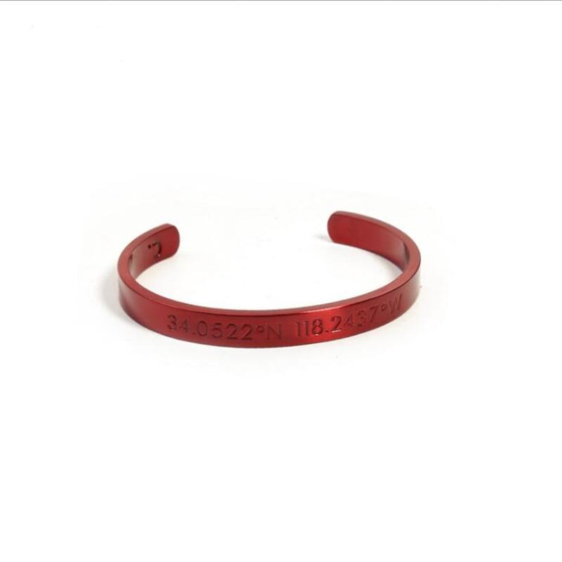 b37f074ac37a Stainless Steel Cuff Bangles Men Jewelry Titanium Bracelet Men Engraved  Longitude and Latitude Dgital Love Bracelet pulseras