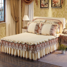 Beige Blue Pink Light Green Khaki luxury Lace bedding Bed Skirt set Crystal Velvet Thick Bedspread Linen Pillowcase 3Pcs