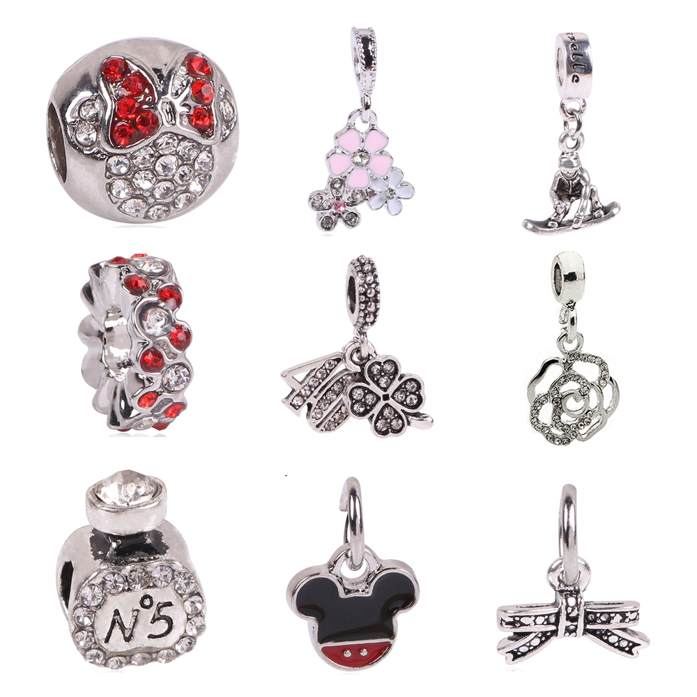 Free Shipping 1Pcs Silver Bead Charm European Silver with Angel wings Charm Pendant Bead Fit Pandora Bracelet