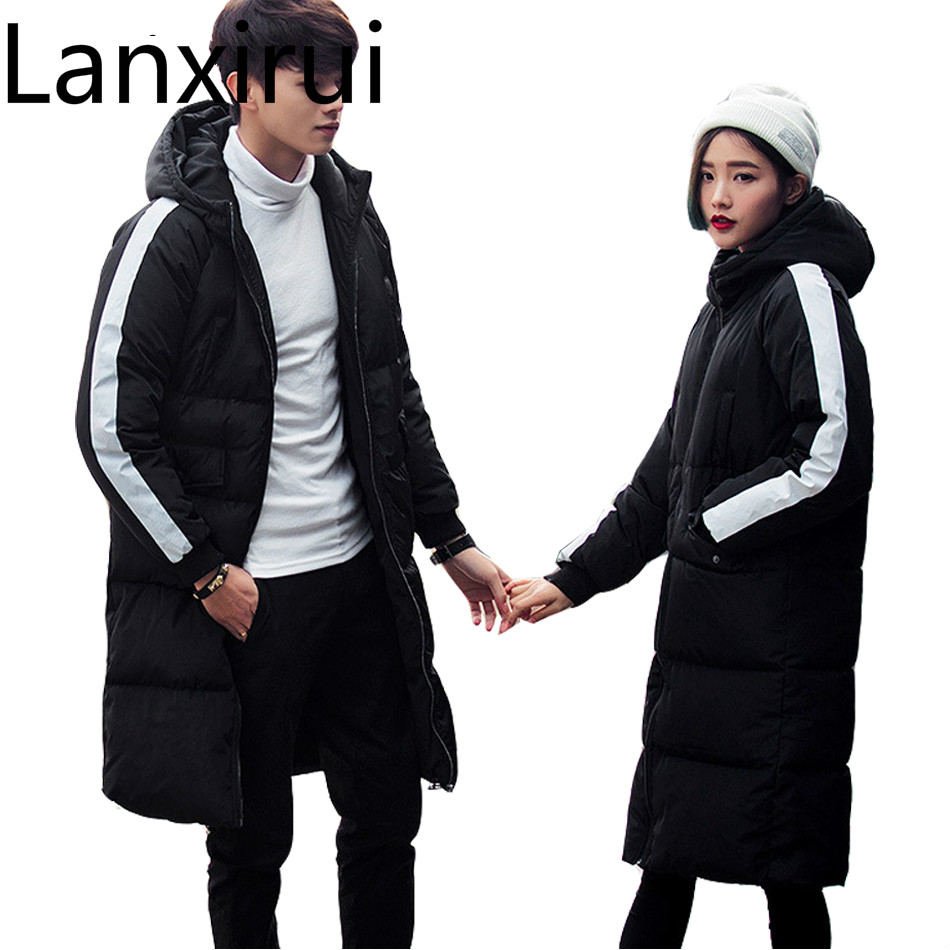 2018 Winter Parkas Men Fashion Long Jacket For Men Women Thicken Cotton -Padded Winter Coats Couples Hooded Plus Size Parkas