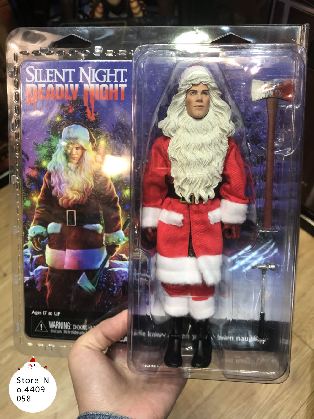 NECA Fiber Cloth Retro Series Christmas Night Silent Night Deadly Night Killer Movie Alloy Action Figure Model Toy trendy movie silent night jack skull keyring