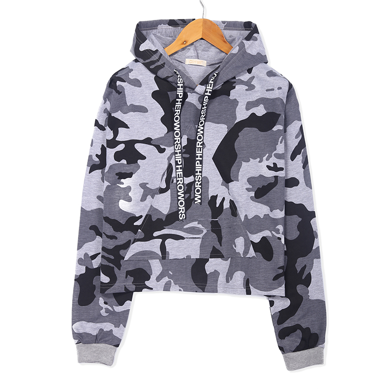 Image 2 - MERRY PRETTY Women Camouflage Printed Cropped Hoodies Sweatshirts Long Sleeve Tracksuit 2018 Autumn ArmyGreen Hooded PulloversHoodies & Sweatshirts   -
