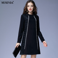 MUSENDA Plus Size Women Elegant Elastic Black Lace Patchwork Short Dress 2017 Winter Female Party Dresses