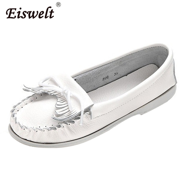 EISWELT 2017 Women Shoes Women Flats Woman Tassel Fringe Ballet Flats  Loafers Moccasin White Nurse Shoes