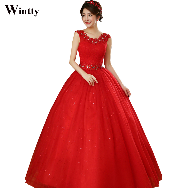 Wintty Sexy Chinese Simple Red Wedding Dresses Pictures