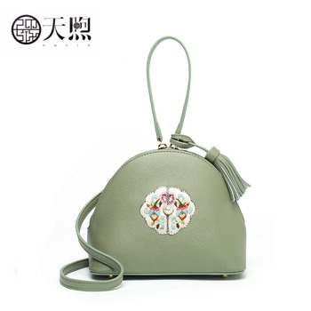 Women Genuine Leather bag  2019 new crossbody bag Simple and versatile hand-embroidered fashion shoulder bag