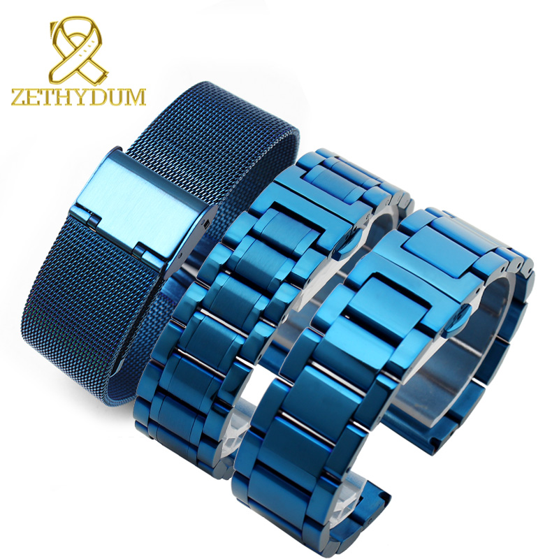 купить Solid stainless steel bracelet blue color watches band Smart watches strap mesh watchband 20 22 24mm по цене 632.38 рублей