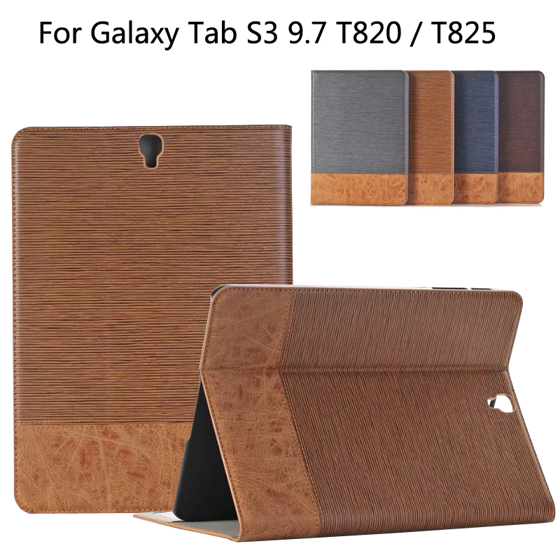 Business Leather Case For Samsung Galaxy Tab S3 T820 T825 9.7 inch Tablet Support stand Cover with Card Solt + Film + Pen luxury flip stand case for samsung galaxy tab 3 10 1 p5200 p5210 p5220 tablet 10 1 inch pu leather protective cover for tab3