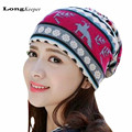 2017 New Retro Beanies for Women Vintage Snow Beanies Winter Warm Hats Autumn Caps For Women Multifunction Usage Scarf Hats XHXL