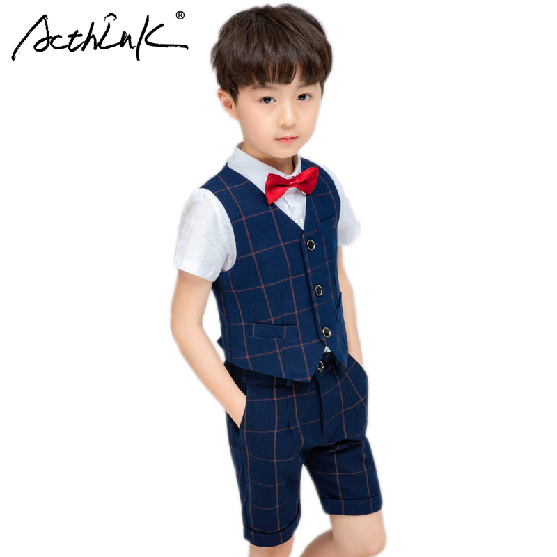 ActhInK 2019 Hot Selll 3Pc Formal Wedding Suit Boys Plaid Summer Teen School Uniform Clothes Set Jackets Vest Pants
