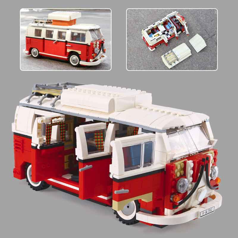 In stock 21001 Volkswagen T1 Camper Van Model 1342pcs Creator Series Building Blocks Toys Compatible with Lepining 10220