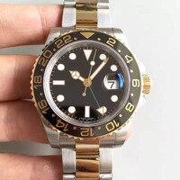 2018 AAA luxury mens watches automatic GMT Lum Black gold Ceramic Bezel luxury designer watch Stainless original clasp Mens