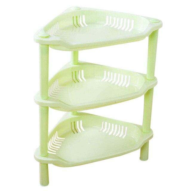 Tenske Decorative Shelves 3 Tier Plastic Corner Bathroom Organizer Caddy Shelf Kitchen Storage Holder 30