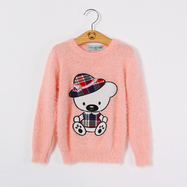 Girls child cartoon embroidered rabbit fur top girls sweater spring and autumn baby all-match knitted pullover top