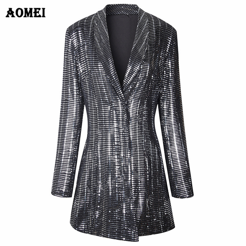 Sequins Gilding Shining Blazer Coat New Fashion Suit Women Workwear Office Lady Blaser Clothing Fall Winter