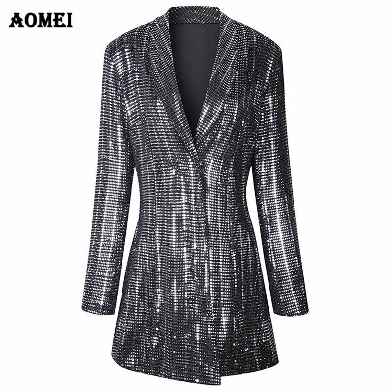 Sequins Gilding Shining Blazer Coat New Fashion Suit Women Workwear Office Lady Blaser Clothing Fall Winter Jackets Long Outwear