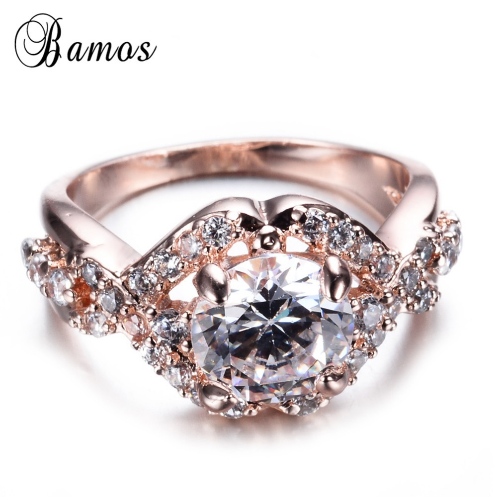 top quality flower style white zircon ring gold