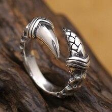 Винтаж 925 Серебряный Дракон Paw Кольцо Настоящее стерлингового серебра Регулируемые кольца тайский серебряный унисекс кольцо