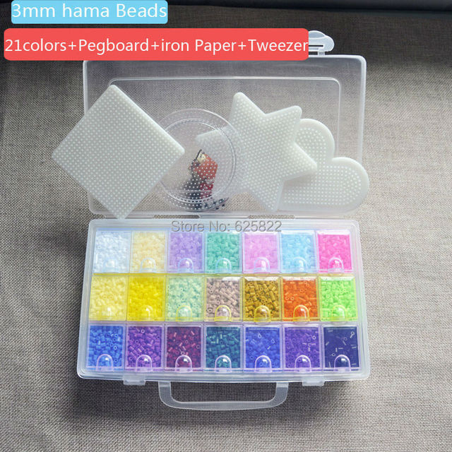 3mm Mini Hama  Perler Beads(10,500 + 4 Pegboards +21 Colors ) Good Grade EVA