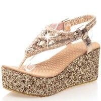 2017 Women Shoes High Heel Platform Sandals Rhinestone Summer Sandals For Women Fashion Cool Gold Silver