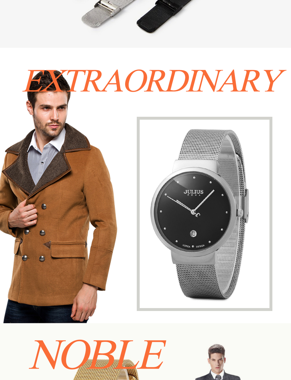 Top Watches Men Luxury Julius Brand Men's Watches Stainless Steel Analog Display Quartz Men Wrist watch Ultra Thin Dial Relogio 8