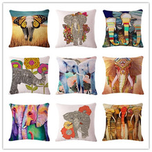 Fashion Colorful Elephant Printed Modern Minimalist Linen Cotton Cushion For Sofa Home Decorative Pillow Throw Almofadas Cojines