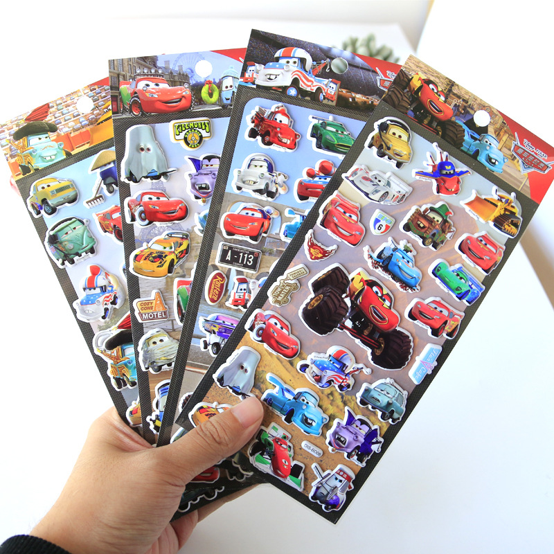Disney Children Cartoon Lightning McQueen Stereo 3d Stickers Kindergarten Reward Stickers Car Mobilization Kids Stickers Toy