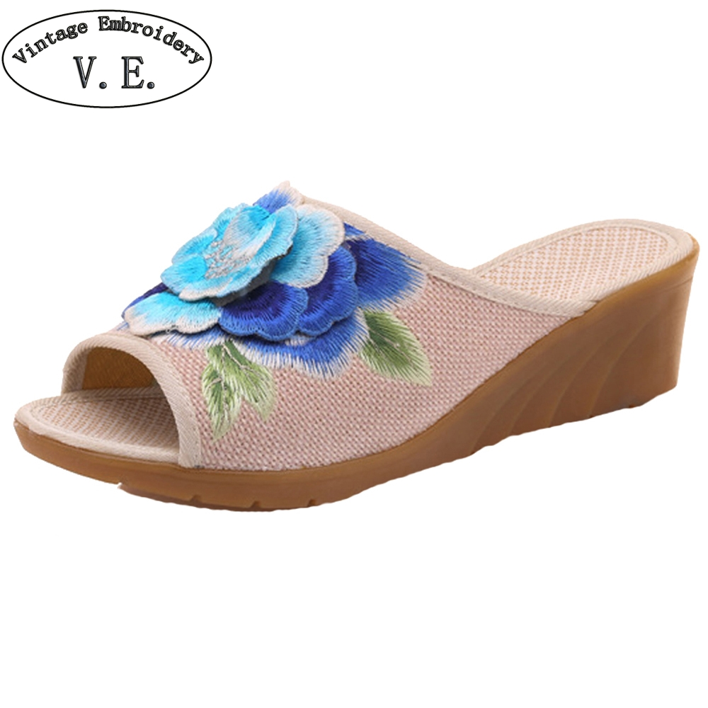 Chinese Women Slippers 3D Floral Embroidered Peep Toes Linen Wedge Slippers Summer Ladies Canvas Soft Shoes Sandials Mujer vintage embroidery women flats chinese floral canvas embroidered shoes national old beijing cloth single dance soft flats