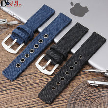 Blue and black 20MM / 22MM/24MM Mens Denim Canvas Strap for seiko timex dw watch