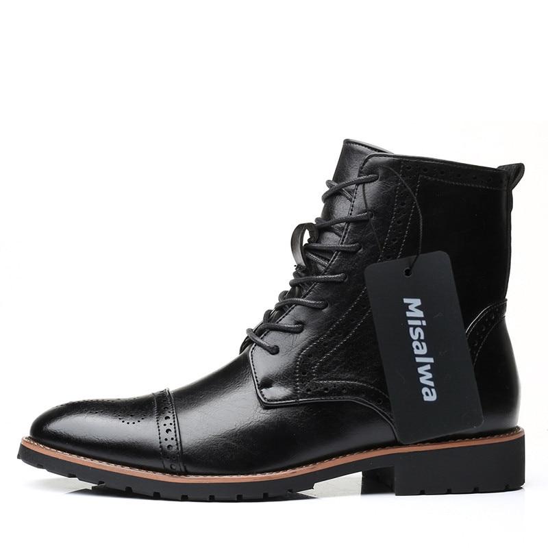 Ankle marrom Botas Rendas e35 Grande De Macio Estilo Black Couro Misalwa Homens Boots Britânico E35 Brogue Inverno Moda Até Outono Tamanho Brown Preto 57TnnvqZ