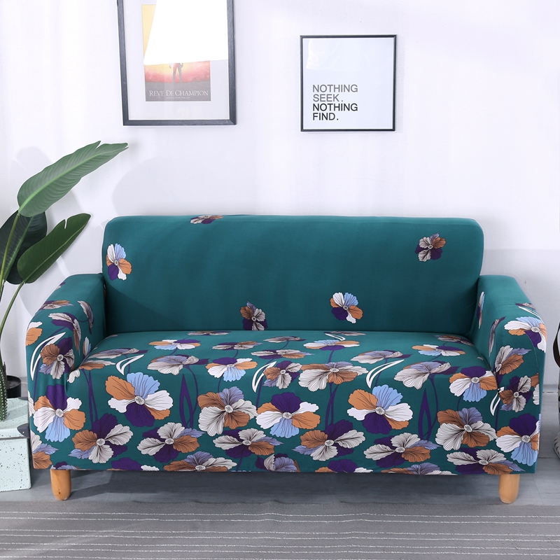 Green Flowers Elastic Couch Sofa Covers For Living Room