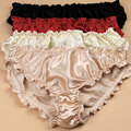 3pcs/lot Quality women's silk panties ruffle crepe satin antibiotic low-waist trigonometric panties plus size